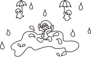 雨の中を遊ぶ子供の写真素材 [FYI00228177]