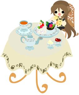 カフェでアフタヌーンティーを楽しむ人の写真素材 [FYI00228180]
