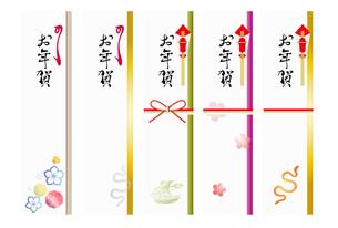 2013年 巳年 年賀 熨斗 短冊 梅柄 ヘビ 宝船の写真素材 [FYI00228194]