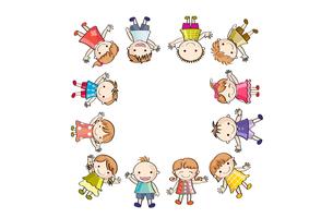 笑顔の子供たち(四角)の写真素材 [FYI00228199]