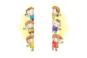 並んで手をふる子供(中心空白)の写真素材 [FYI00228206]