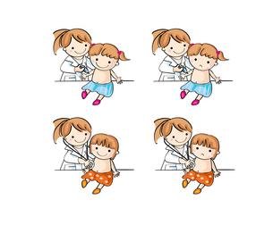 病院で子供が診察と注射を受ける(女の子)の素材 [FYI00228207]