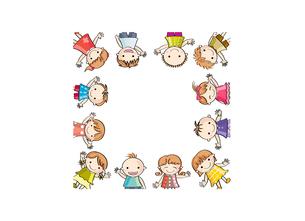 笑顔の子供たち(四角に切り抜き) の写真素材 [FYI00228208]