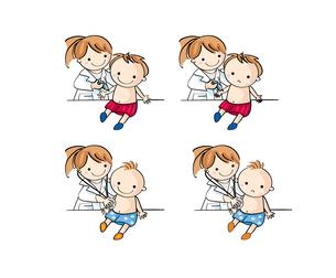 病院で子供が診察と注射を受けるの写真素材 [FYI00228213]