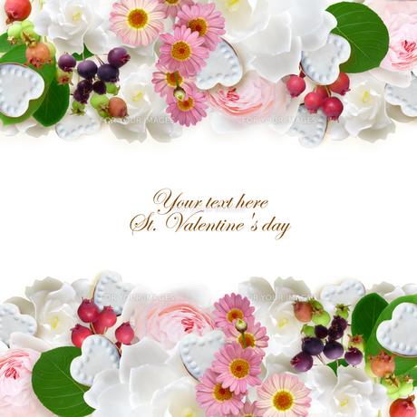 ハートのお菓子と花 中央テキスト の写真素材 [FYI00228224]