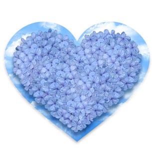 青い花のハートフラワーケーキ空付きの写真素材 [FYI00228310]