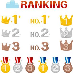 王冠とメダルのランキングアイコンの写真素材 [FYI00228370]