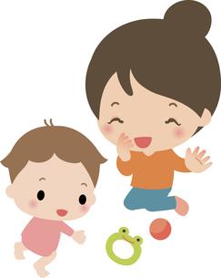 若いお母さんとハイハイする乳児の写真素材 [FYI00228384]