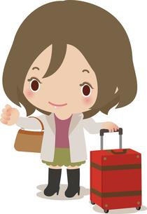 若い女性とスーツケースの写真素材 [FYI00228388]
