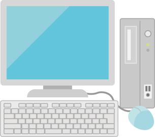 デスクトップパソコンとマウス、キーボードの写真素材 [FYI00228395]