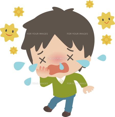 花粉症に苦しむ若い男性の写真素材 [FYI00228408]