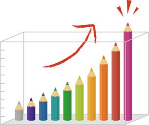 色鉛筆の上昇棒グラフの写真素材 [FYI00228410]