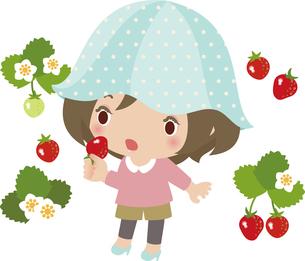 イチゴ狩りでイチゴを食べる若い女性の写真素材 [FYI00228414]