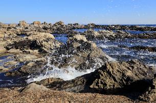 荒磯に寄せる波。の写真素材 [FYI00230352]