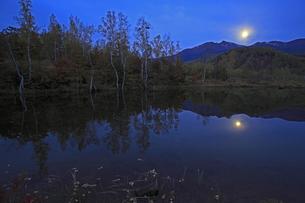 乗鞍高原の朝と月の入りの写真素材 [FYI00230413]