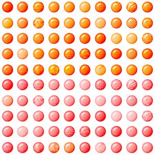 100種類のオレンジとピンクのボタン の写真素材 [FYI00230934]