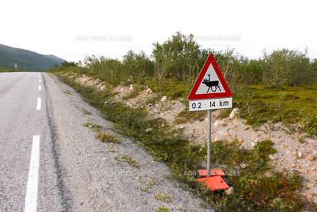 ノルウェー北極圏の標識の写真素材 [FYI00230955]