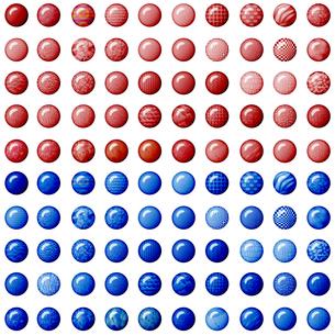 100種類の赤と青のボタンの写真素材 [FYI00231023]