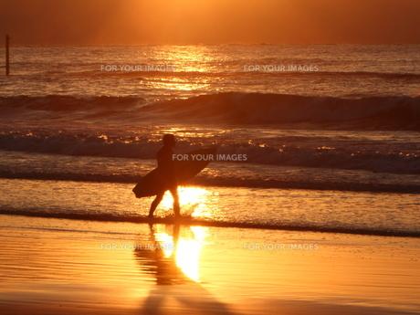 夕日の中のサーファーの写真素材 [FYI00231231]