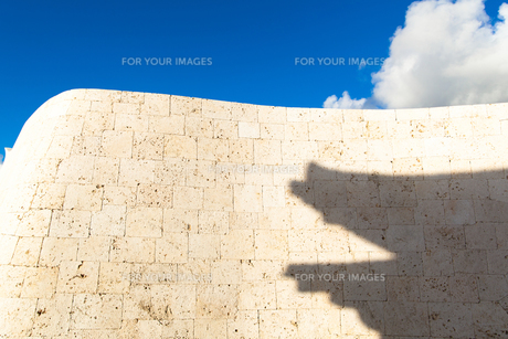 滑らかな曲線を描く城壁に映る影の写真素材 [FYI00231550]