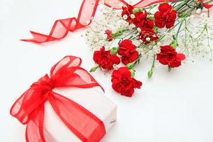 カーネーションの花束とプレゼントの素材 [FYI00232037]