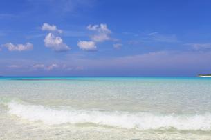 沖縄の美しいビーチに打ち寄せる透明な波の素材 [FYI00232042]