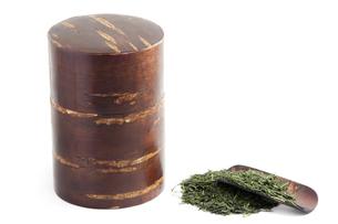 桜の茶筒とお茶の写真素材 [FYI00232276]
