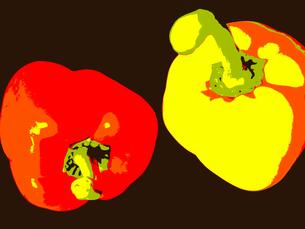 赤と黄色のパプリカの写真素材 [FYI00233948]