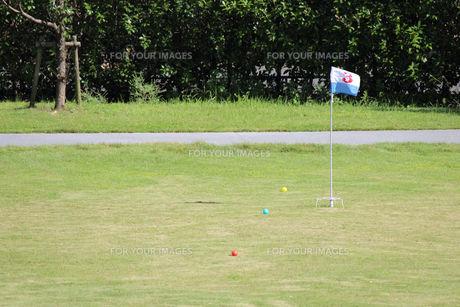 グラウンドゴルフのボールが並ぶの写真素材 [FYI00234178]