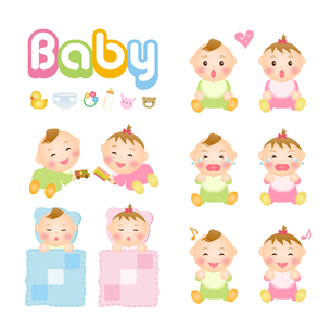 赤ちゃんのイラスト 笑う・泣く・遊ぶ・寝るの写真素材 [FYI00235050]