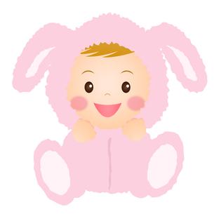 うさぎの着ぐるみを着た赤ちゃんの写真素材 [FYI00235055]