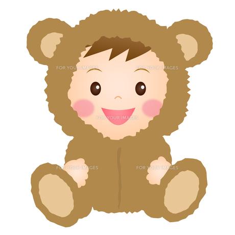 くまの着ぐるみを着た赤ちゃんの写真素材 [FYI00235082]