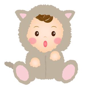ねこの着ぐるみを着た赤ちゃんの写真素材 [FYI00235088]