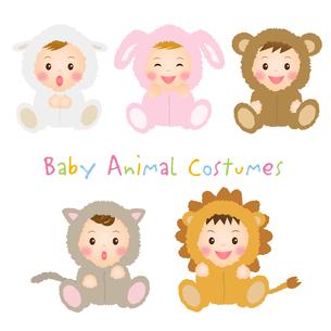 動物の着ぐるみを着た赤ちゃんたちの写真素材 [FYI00235092]