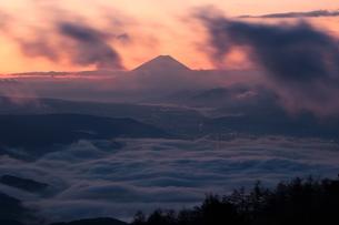 雲海の朝焼けの富士山の写真素材 [FYI00237992]