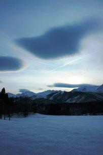 白馬の夕暮れの風景の写真素材 [FYI00238071]