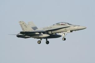 青空を背景に飛行する米海兵隊のFA−18Dホーネット戦闘攻撃機の写真素材 [FYI00240370]