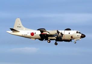 飛行する海上自衛隊のUP-3D訓練支援機の写真素材 [FYI00240381]