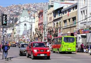 南米チリの世界遺産、バルパライソの街並みの写真素材 [FYI00240478]