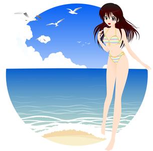 海辺と水着姿の女の子の写真素材 [FYI00241527]