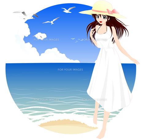 海辺と麦わら帽子の女の子の写真素材 [FYI00241530]