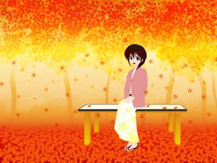 紅葉と座る女性の写真素材 [FYI00241543]