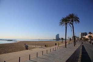 バルセロネータビーチと青空の写真素材 [FYI00241547]