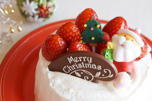 クリスマスの苺ショートケーキの素材 [FYI00242299]