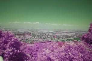 城山公園からの展望!かすみがかった北アルプスの峰々の写真素材 [FYI00243112]