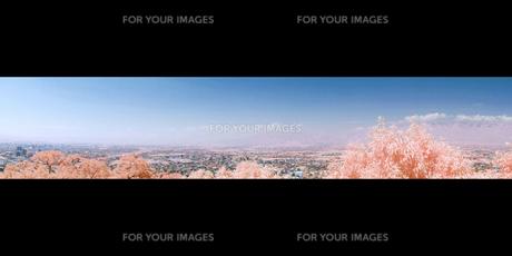 南北に連なる霞がかった北アルプス連峰のパノラマ眺望の素材 [FYI00243151]