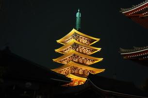 浅草寺五重塔のライトアップの写真素材 [FYI00244407]