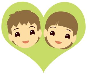 ハートの中の男の子と女の子の写真素材 [FYI00244870]