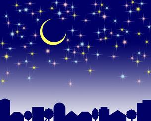 星空に輝く三日月の写真素材 [FYI00244876]