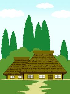 かやぶき屋根の家の写真素材 [FYI00244879]